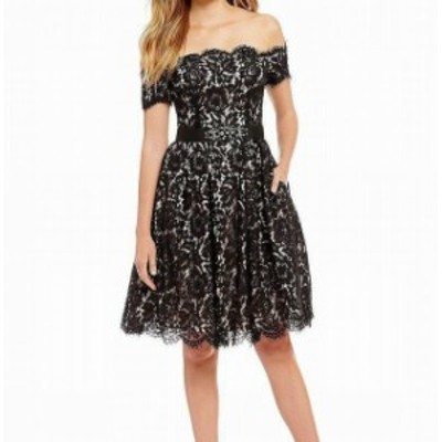 Eliza J エリザジェイ ファッション ドレス Eliza J NEW Black Womens Size 4 Lace Embellish Belt A-Line Dress