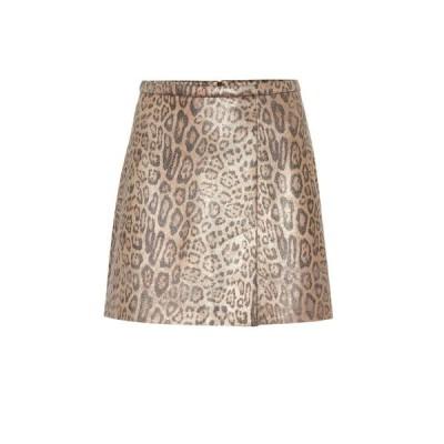 ストールス Stouls レディース ミニスカート スカート Santa leopard-print suede miniskirt Light Leopard