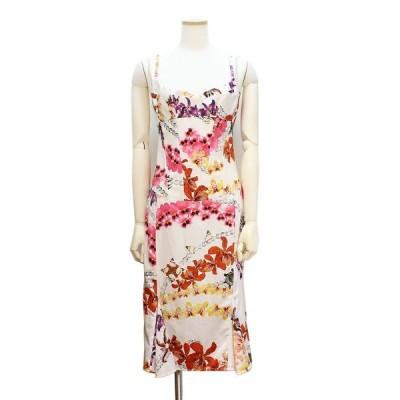 (美品)ジャストカヴァリ フラワー柄 花柄 ワンピース 白 ホワイト 42