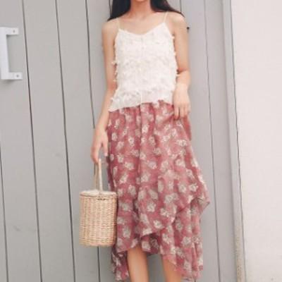 オススメ 新作 夏 セットアップ キャミソール スカート ティアード フリル ミモレ丈 花柄 ガーリー 可愛い hf02385