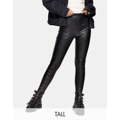 トップショップ Topshop Tall レディース ボトムス・パンツ faux leather trousers in black ブラック