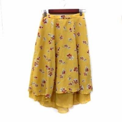 【中古】マジェスティックレゴン フレアスカート ロング フィッシュテール 花柄 シフォン M 黄色 イエロー レディース