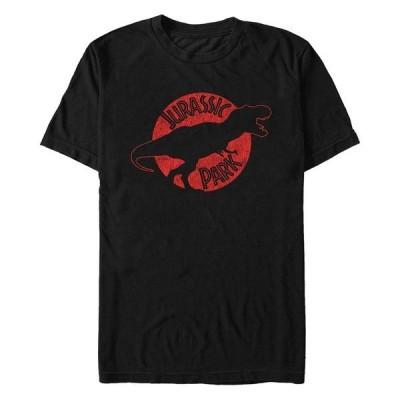 フィフスサン Tシャツ トップス メンズ Jurassic Park Men's T-Rex Red Outline Distressed Short Sleeve T-Shirt Black