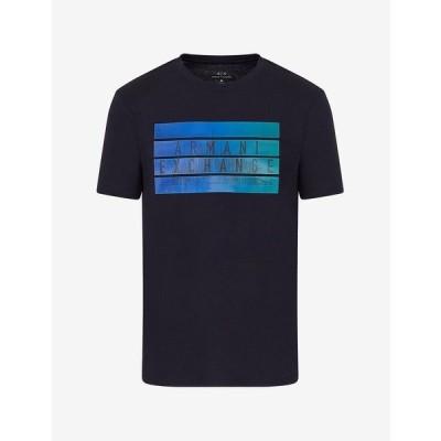 アルマーニ Tシャツ トップス メンズ Gradient Logo T-Shirt Navy