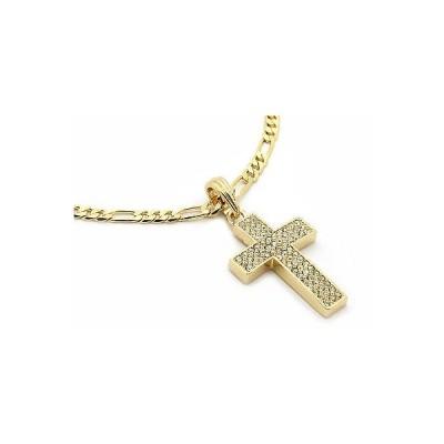 """チェーン ネックレス アメリカン ジュエリー ヒップホップ Mens 14k Gold Plated Thick Cz Cross Pendant Hip-Hop 24"""" Figaro Necklace Chain M2"""