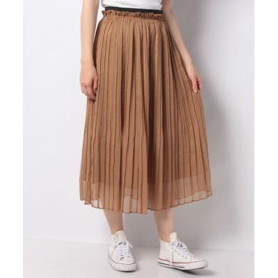 【テチチ】 楊柳シフォンプリーツスカート(着丈80cm) レディース キャメル F Te chichi