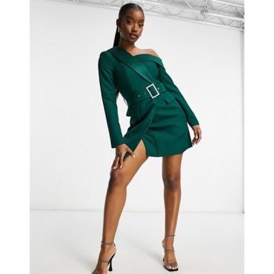 ラビッシュアリス レディース ワンピース トップス Lavish Alice asymmetric off shoulder tux mini dress in forest green