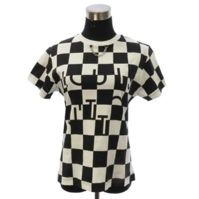 ルイヴィトン Tシャツ ダミエ柄 コットン100% レディースサイズXS 1A61KF LOUIS VUITTON 白 黒 安心保証