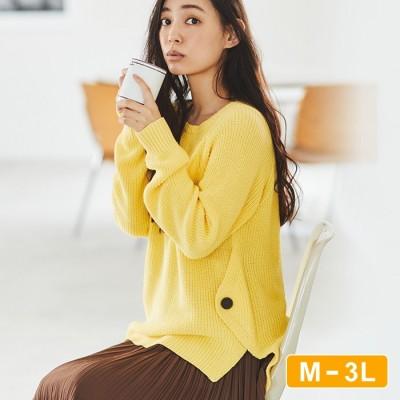 Ranan 【M~3L】綿100%サイドボタンニット ブルー M レディース