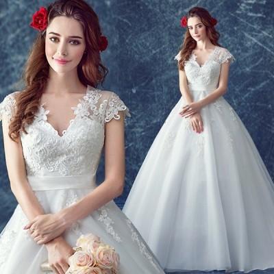 ウエディングドレス プリンセス 二次会 ウェディングドレス 安い エンパイア 花嫁 ドレス 結婚式 ブライダル 披露宴 ロングドレス マタニティドレス vネック