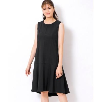 大きいサイズ すっきり見えカットソーノースリーブワンピース(吸汗速乾当て布付) ,スマイルランド, ワンピース, plus size dress