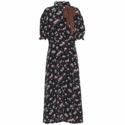 ミュウミュウ Miu Miu レディース ワンピース ミドル丈 ワンピース・ドレス Floral silk midi dress Nero