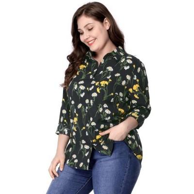 レディース 衣類 トップス Women's Plus Size Floral Print Shirt Black ブラウス&シャツ