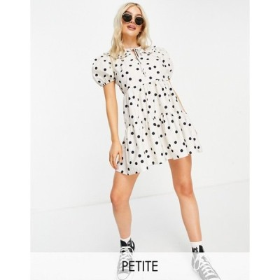 ミスセルフフリッジ レディース ワンピース トップス Miss Selfridge Petite collar poplin dress in white spot