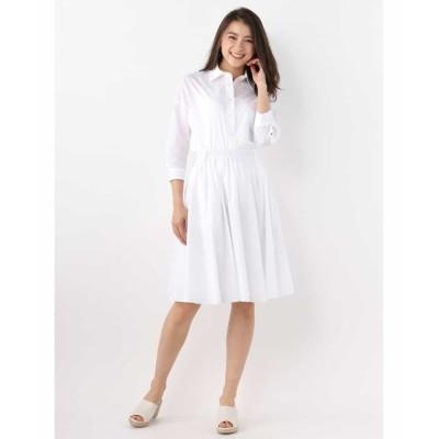 【オフオン】 リボンベルト付きシャツ&フレアスカートセット レディース ホワイト L OFUON
