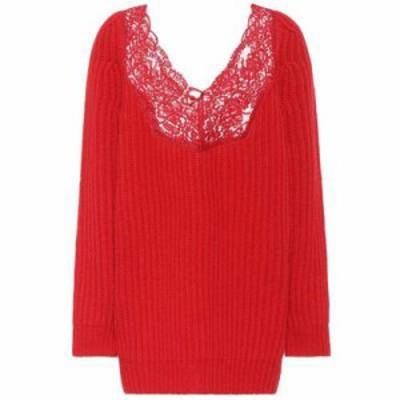 バレンシアガ ニット・セーター Lace-trimmed wool sweater Red