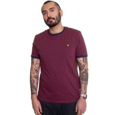 ライル アンド スコット Lyle & Scott メンズ Tシャツ トップス - Ringer Merlot/Navy - T-Shirt burgundy