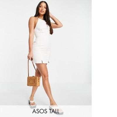 エイソス レディース ワンピース トップス ASOS DESIGN Tall soft denim halterneck slip dress in white White