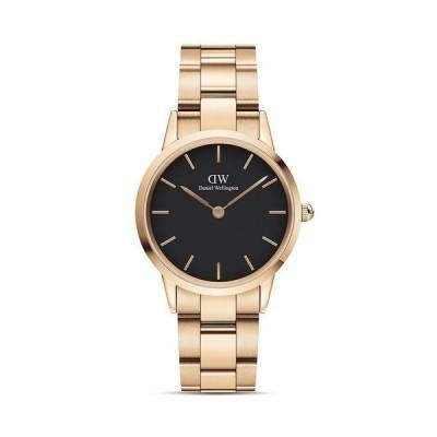 ダニエルウェリントン レディース 腕時計 アクセサリー Black Dial Rose Gold-Tone Link Bracelet Watch 28mm-32mm