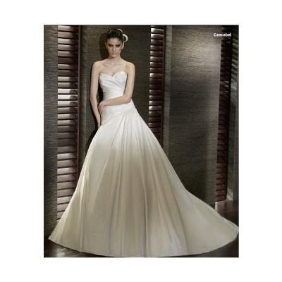 wdk803サテンの輝きに目を奪われるAラインウエディングドレス。