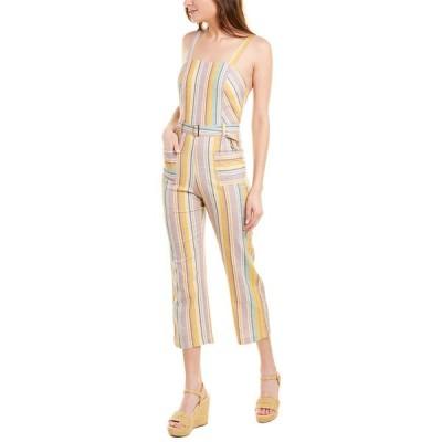 エルジェイ ワンピース トップス レディース ELLEJAY Holly Linen-Blend Jumpsuit stripe