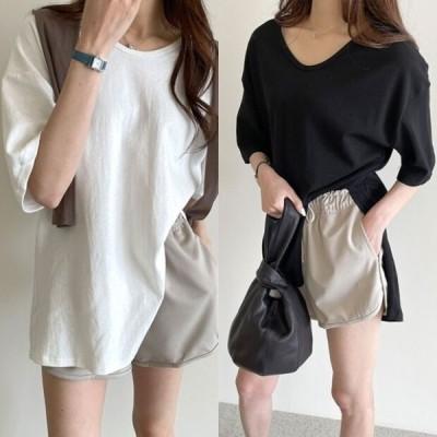 tシャツ レディース 韓国 ファッション ビッグシルエット Tシャツ 無地 シンプル スリット ロング t 半袖 重ね着 夏 トップス レディース リラックス パステル