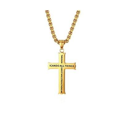OIDEA ピリピ人への手紙 4:13 クロスペンダント ステンレススチール 宗教ネックレス 聖書の言葉 ゴールド 22インチチェーン