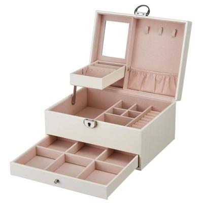 ArcEnCiel ジュエリーボックス 鍵ミラー付き 3階 大容量 ジュエリー アクセサリー 収納 宝石箱