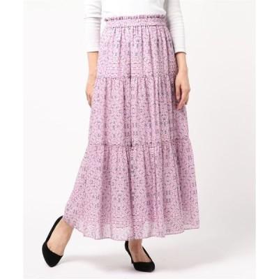 スカート オプティカルティアードマキシスカート