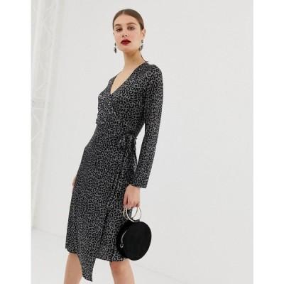 リバーアイランド River Island レディース ワンピース ワンピース・ドレス plisse wrap dress in metallic leopard print Black