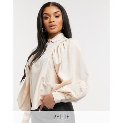 ワイ エー エス Y.A.S Petite レディース ブラウス・シャツ トップス shirt with balloon sleeves and pleat detail in cream クリーム