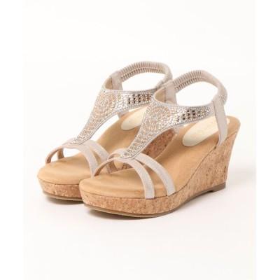 Parade ワシントン靴店 / 【楽ふわ】柔らかクッション ラインストーンコルクウェッジサンダル 2011 WOMEN シューズ > サンダル