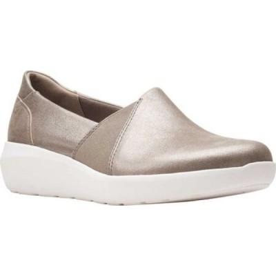 クラークス Clarks レディース スリッポン・フラット スニーカー シューズ・靴 Kayleigh Step Slip On Sneaker Gunmetal Metallic Leather