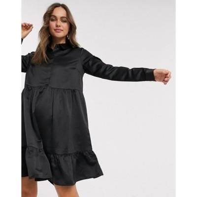 ピーシーズ レディース ワンピース トップス Pieces Tia tiered shirt dress in black