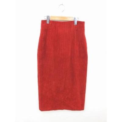 【中古】アルファスピン ALFASPIN スカート タイト ロング コーデュロイ ウール 綿 バックファスナー M 赤 レッド