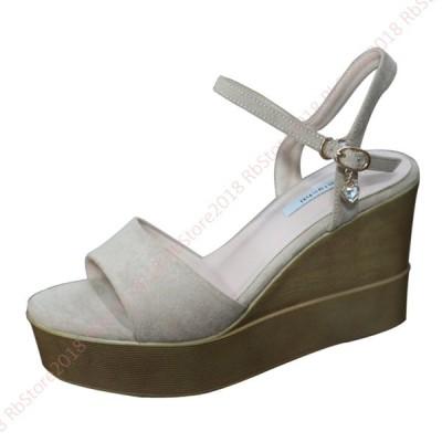 サンダル レディース ウェッジソール 歩きやすい 軽量サンダル  痛くない 靴 黒 ブラック ゴム カジュアル 9cmヒール ハイヒール 滑りにくい かわいい おしゃれ