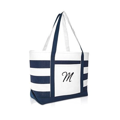 DALIX Premium Beach Bags Striped Navy Blue Zippered Tote Bag Monogrammed M【並行輸入品】
