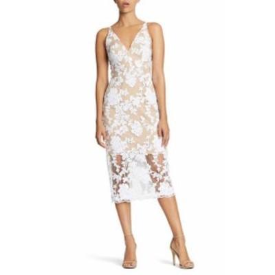 Dress the Population ドレスザポピュレーション ファッション ドレス Dress The Population Lace Sequin White Beige Medium M Sheath D