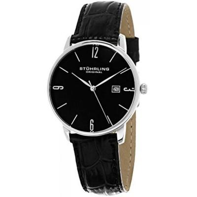 ストゥーリング オリジナル 腕時計 メンズウォッチ Stuhrling Original Men's 997L.02 Ascot Stainless Steel Date Watch With Black Leather Band