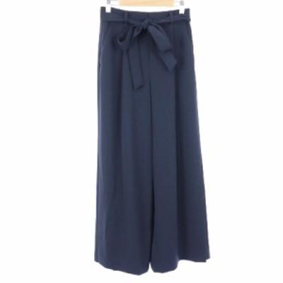 【中古】アルアバイル allureville 18SS パンツ ワイド ツイル スリット リボン 1 紺 ネイビー /TM レディース