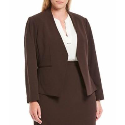 カルバンクライン レディース ジャケット・ブルゾン アウター Plus Size Textured Stretch Suiting Pointed Open Front Jacket Otter