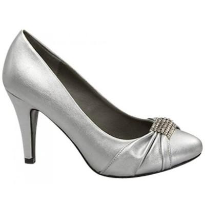 トップモーダ レディース パンプス Top Moda Rhinestone Knot Casual or Prom Dress Pumps Call-9 Silver, Black or Taupe