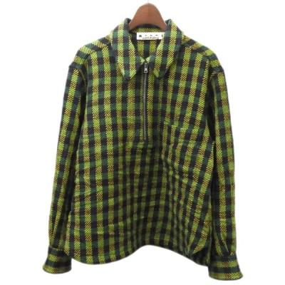 【10月29日値下】MARNI 2017AW ハーフジップチェックシャツ グリーン サイズ:46 (渋谷店)