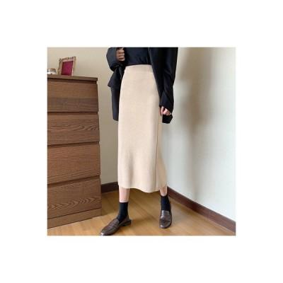 【送料無料】秋と冬 デュプレックス ベルベット ハイウエスト 着やせ あんず色半身裙 | 346770_A64036-4210459