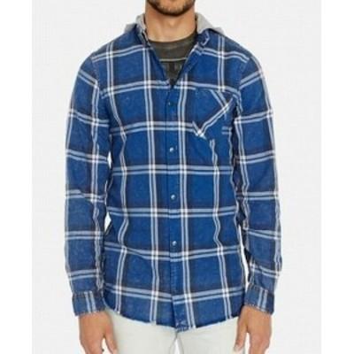 buffalo バッファロー ファッション アウター Buffalo David Bitton Blue Mens Size 2XL Hooded Plaid Classic Fit Shirt
