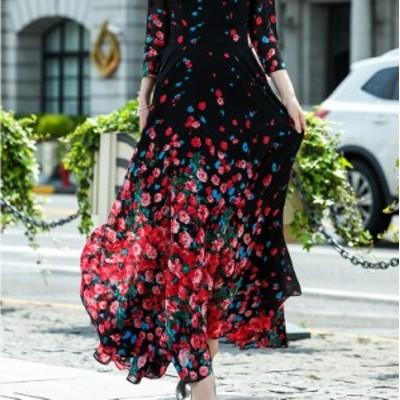カシュクールワンピースロング 長袖 マキシワンピース 花柄のワンピース 大きいサイズ シフォン スタンドカラー Xライン シースルー