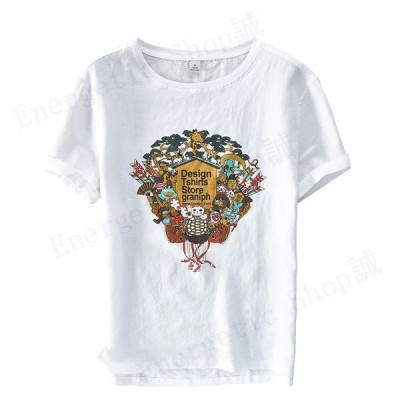 Tシャツ クルーネック 白シャツ 麻 リネン 半袖カットソー メンズ 半袖  プリント ロゴ