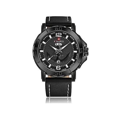 【新品・送料無料】NAVIFORCEオリジナルGood品質メンズスポーツカジュアル防水レザーストラップ曜日日付腕時計9122 All black white