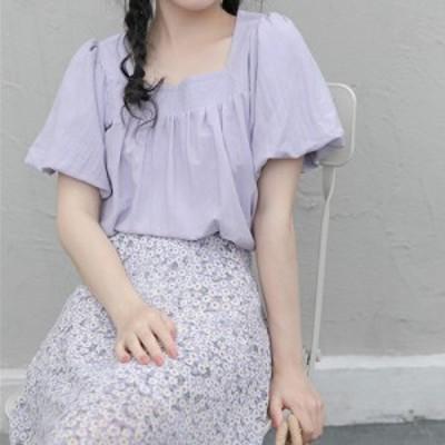 ブラウス バブルスリーブ パープル ラベンダー ホワイト 白 紫 デコルテ 小顔 パフスリーブ フリル ギャザー ナチュラル ガーリー