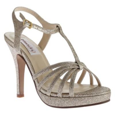 ダイエイブルズ オックスフォード シューズ レディース Kaylee T-Strap Platform Sandal (Women's) Champagne Glitter